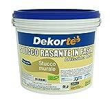GDM-Stucco Rasante In Pasta, Ideale Per Rasatura Di Pareti Interne, Dekortè, Colore: Bianco, 4 kg