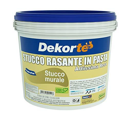 GDM 600016609800804-Stucco Rasante In Pasta, Ideale Per Rasatura Di Pareti Interne, Dekortè, Colore: Bianco, 4 kg