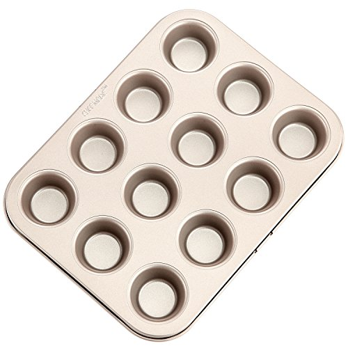 CHEFMADE Mini Muffin Pan, 12-Cavity Non-Stick Mini Cupcake Pan Bakeware for Oven Baking (Champagne Gold)