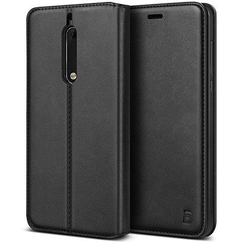 BEZ® Cover Nokia 5, Custodia Compatibile per Nokia 5, Protettiva Portafoglio in Pelle con Porta Carta di Credito, Kick Stand, Chiusura Magnetica, Nero
