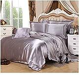 Juego de ropa de cama de satén, color azul real, 5 piezas, funda de edredón y funda de almohada King Queen Twin