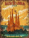 Merens Cartel artístico de Barcelona con texto en inglés 'Nostalgic Vintage Old Classic' para decoración de pared, regalo de 20 x 30 cm