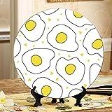 Huevos fritos Tostada Pan Tomate Plato Decoración de cerámica Platos para fiestas Plato oscilante para el hogar con soporte de exhibición Decoración Platos decorativos para el hogar de cerámica