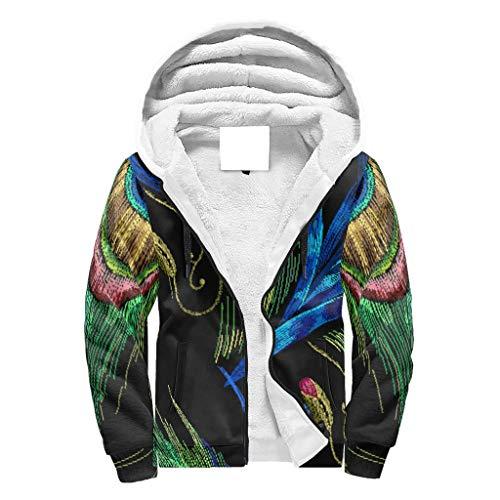 O2ECH-8 man rits warm vlies sweatjack studenten zwarte mandala grafieken - groene ritssluiting comfortabele jas