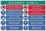 Site Safety COVID19 - Segnala in ufficio, lava le mani, disinfetta le superfici, minimizza il contatto faccia a faccia, politica di 1 metro, indossa il cartello in PVC semirigido (900 x 600 mm)
