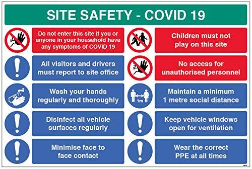 Site Safety COVID19 - Informe a la oficina, lavado las manos, desinfecta superficies, política de 1 m, etc. 4 mm acanalado 900 x 600 mm