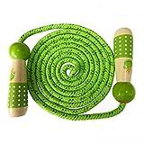OFKPO Cuerda de Saltar - Cuerda Que Salta de Madera, Imagen Divertida, 2.4m (Verde)