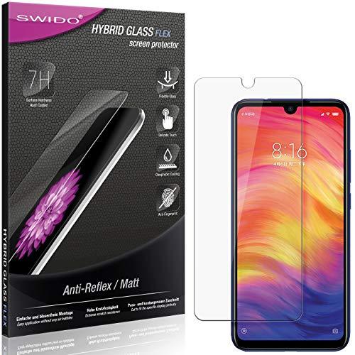 SWIDO Panzerglas Schutzfolie kompatibel mit Xiaomi Redmi Note 7 Global Bildschirmschutz Folie & Glas = biegsames HYBRIDGLAS, splitterfrei, MATT, Anti-Reflex - entspiegelnd