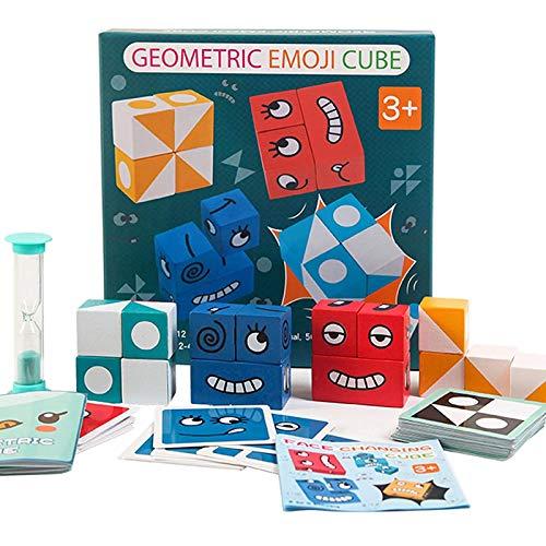 FancyWhoop Bunte Zauberwürfel-Bausteine, Kreative Spielzeug Gesicht ändern Würfel, Puzzle Building Cubes Emoji, Interaktion Spielzeug Holz Matching Game Buntes Holzwürfel Thinking Training
