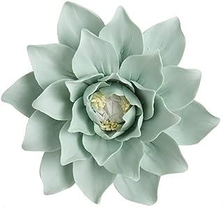 ALYCASO Handmade Decorative Ceramic Flowers 3D Wall Decor Hangings Room Decoration Art (XL- 5.9 in, Magnolia Green)
