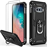 IKAZZ Galaxy S10e Case with Screen Protector,Military Grade Shockproof Cover Pass 16ft Drop Test with Magnetic Kickstand Car Mount Holder Protective Phone Case for Samsung Galaxy S10e Black