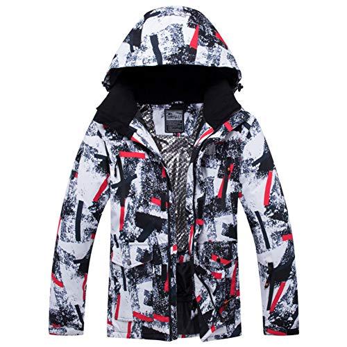 Imprimé Bande Imperméable Vestes de Ski, Costume de Ski Coupe-Vent SNOWEAR Manteau d'Hiver Calorifugée pour Les Femmes-Noir XXL