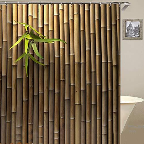 Grüne Duschvorhänge aus Bambusblättern mit 12 Vorhangringen, einfaches, modernes, wasserdichtes Polyester-Baddekor-Stoffset mit 12 Haken, farbecht, wasserdicht, 180 * 180 cm