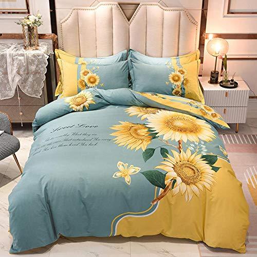 Goodlife-1 Juego de sábanas de 3 Piezas Juego de sábanas con Funda nórdica y Fundas de Almohada Reversibles Azules Florales Rojas-B_Doble