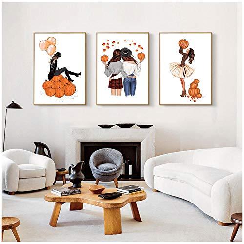 MULMF Scandinavische beste vriend poster Scandinavische kunst canvas afdrukken meisjes met pompoen schilderij muurschildering Home Decoration - 50X70Cmx2 niet ingelijst