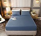 HPPSLT Protector de colchón, algodón, poliéster, Sábana de Cama Color Puro algodón-Azul_120cm × 200cm