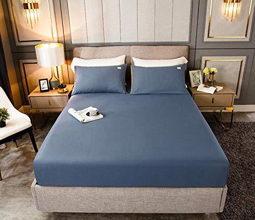 HPPSLT Protector de colchón, algodón, poliéster, Sábana de Cama de Color Puro de una Sola Pieza de algodón-Azul_150cm × 200cm