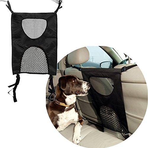 TVMALL Barrera de seguridad para coche, para mascotas, asiento de coche, valla de seguridad, asiento trasero, protección de red de aislamiento (negro)