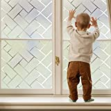 Coavas Window Film Privacy Static Clings Herringbone Compare to One Way Window Film Sun Blocking/Heat Control/Privacy/Decorative for Working from Home Office Hospital RV (17.7 by 78.7 inches)