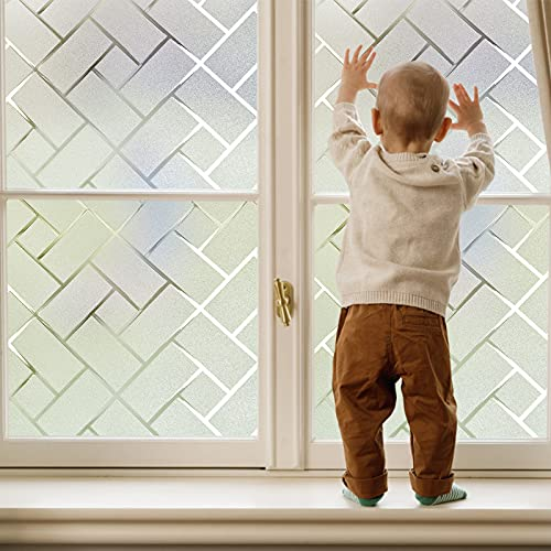 Coavas Window Film Privacy Static Clings Herringbone Compare to One Way Window Film Sun Blocking/Heat Control/Privacy/Decorative for Working from Home Office Hospital RV 35-inch by 78.7-inch