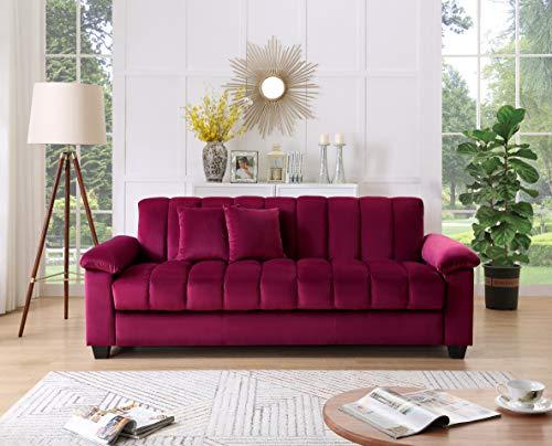 Legend Furniture Comfortable Velvet Sleeper Sofa Bed 2 Sofabed, Red