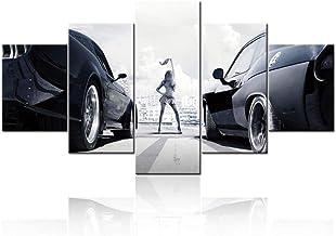 SILUYU Super Car Picture The Fast and Furious Carteles E Impresiones En Lienzo Pinturas 5 Panel Arte De La Pared Arte Moderno Decoración para El Hogar para La Sala De Estar,Talla S:100 * 50Cm