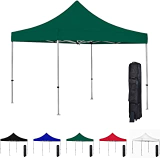 Vispronet 10x10 Instant Canopy Tent – Commercial-Grade Aluminum Frame – Water Resistant and Flame-Retardant Canopy Top – Includes Wheeled Canopy Bag and Premium Stake Kit (Green)