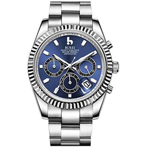 BUREI Herren Chronograph Uhr Blau Analoges dial Mit Datumsanzeige Saphirglas-Linse Silber Edelstahlgehäuse und -Band