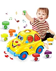 HOLA Musical Car Toy, Early Education Baby Toys with Fruit Shape Sorters, Omni-Directional Wheel Learning Car Gifts Toys for 2 3 4 Year Old Boys Girls