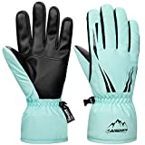 LANYI Winter Gloves Mens Women Ski Waterproof Thermal Snow Gloves Thinsulate Insulated Snowboard Driving Outdoor Warm Cold Weather Gloves (Sky blue, M)