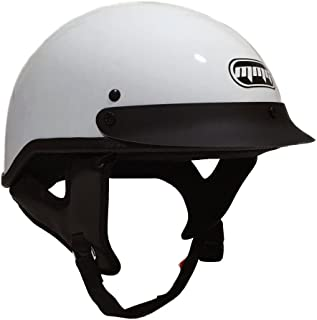 MMG 205 Motorcycle Half Helmet Cruiser DOT Street Legal, White, Large, Includes Riding Smoked Goggles