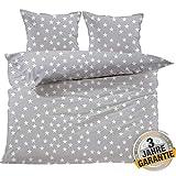Aminata Kids Premium Bettwäsche-Set Sterne, grau Bettbezug 220x240 cm + 2X Kopfkissen 80x80 cm,...
