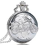 Reloj de Bolsillo Plata Cuarzo Antiguo Colgante Cadena Bolsillo Reloj Motor Moto Motorpara Bicicleta para Hombres Y Mujeres