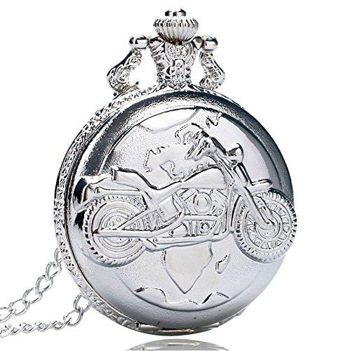 Plata Cuarzo Antiguo Colgante Cadena Bolsillo Reloj Motor Moto Motorpara Bicicleta para...