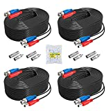 ANNKE 4 Pack 30M/100ft All-in-One Video Power Cables, BNC Extension Surveillance Camera Cables for CCTV Security DVR System Installation, Free 4 x BNC & RCA Connectors and 100pcs Cable Clips Included
