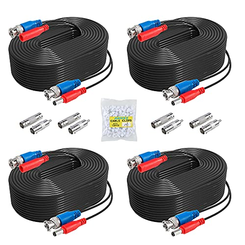 ANNKE 4 Pack 30M/100ft All-in-One Video Power Cables, BNC Extension...