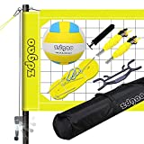 Volleyball Net Outdoor - Professional Volleyball Set with Height Adjustable Aluminum Poles and Anti-Sag System, Boundary Line, Volleyball and Pump, Portable Volleyball Sets for Backyard, Lawn, Beach