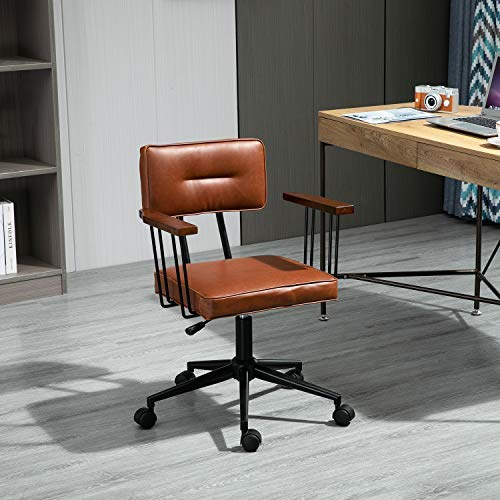 Retro Esszimmerstühle, Leder und Massivholz Design Computer Stühle, Europäischer Studentenstuhl Büro Schreibtischstühle Freizeit Rücken Drehstuhl Einfacher Hebestuhl, Advanced Computer Chair (Braun)