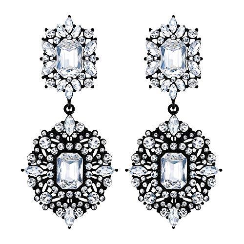 EVER FAITH Orecchini Clip-on Orecchini Art Deco Vintage Stile Gatsby Lampadario pendente orecchini per donne Ragazze Trasparente Nero-fondo