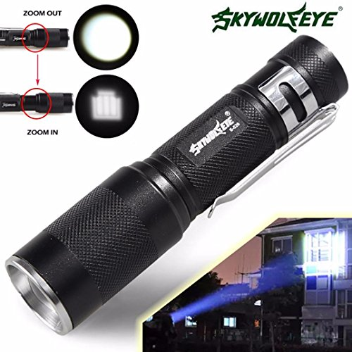 HCFKJ 4000Lm Zoomable Cree Xm-L Q5 Led Flashlight 3 Mode Torch Super Bright Light Lamp