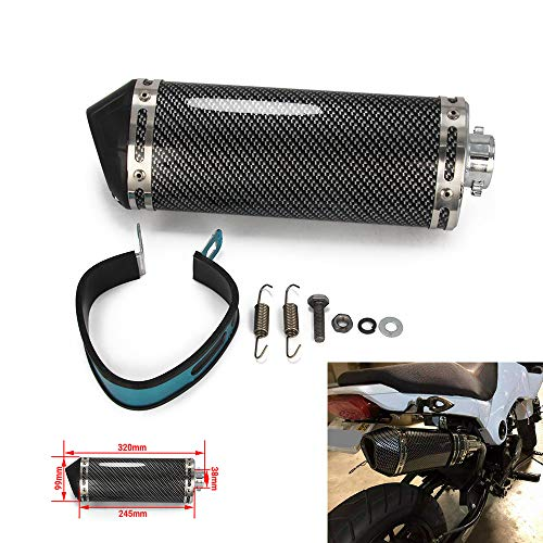 YSMOTO Silencieux d'échappement universel de 3,8 cm avec entrée de 38 mm pour moto, scooter - Fibre de carbone