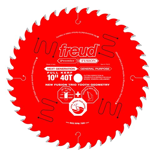 Freud 10' x 40T Next Generation Premier Fusion General Purpose Blade for Crosscuts (3/8' to 3-1/2') & Rips (3/4' to 1-1/2') wood, laminate, veneered plywood, hardwoods & melamine. (P410)