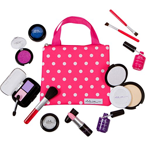 PixieCrush Pretend Play Makeup Kit. Designer Girls Beauty Basics 12 Piece Polka Dot Handbag Set