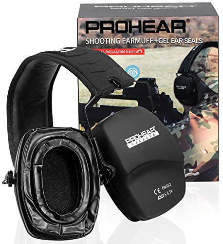 PROHEAR 016-GEP02 Shooting Ear Protection Safety Muffs with Gel Ear Seals, NRR 26dB Noise Reduction Slim Low Profile Passive Earmuffs, Folding Hearing Protector for Airsoft, Hunting (Black)