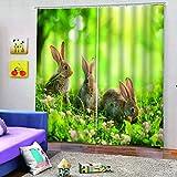 WAFJJ Cortinas Animales y Conejos 3D realistas del diseño,Sala de Estar Dormitorio Cortinas Ventana Set de Dos Paños