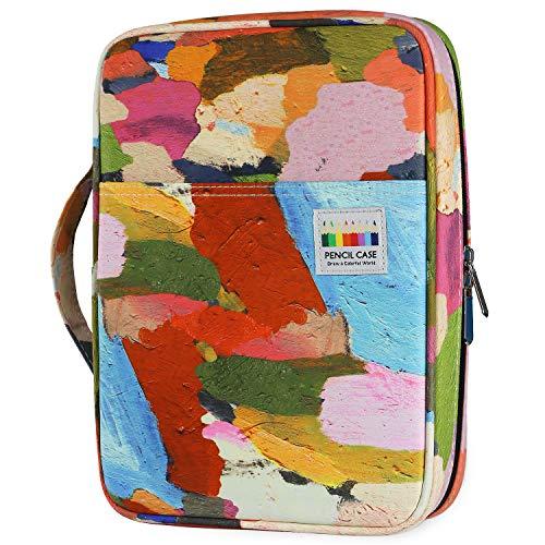 YOUSHARES Estuche de Lápices de Colores con 166 Ranuras - Plumier con Tres Capas Estuche para Lápices de Dibujo & Bolígrafos de Gel para Estudiante & Adulto & Artista (Lienzo de Arte)