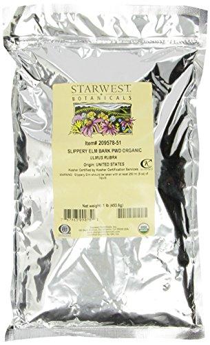 Starwest Botanicals Organic Slippery Elm Bark Powder, 1 Lb Bag