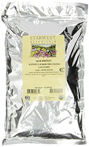 Starwest Botanicals Organic Slippery Elm Bark Powder, 1 lb Bag, Packaging may vary