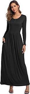 Womens Short Sleeve Loose Plain Maxi Dresses Casual Long Floral Dresses with Pockets