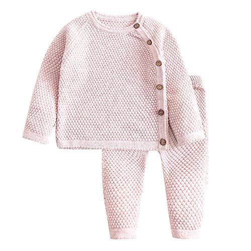 FEESHOW Baby Mädchen Bekleidungssets Langarm Strick Shirt Jäckchen Tops Hosen Neugeborene Baumwolle Outfit Nachtwäsche Einfarbhig Taro 62-68